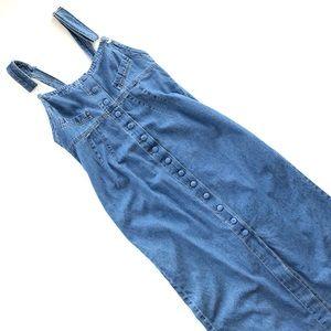 Vtg 90's Long Blue Denim Overall Dress